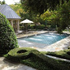 Yes to the fountains & the simple rectangle shape of the pool.