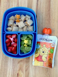 Kids Meals Don't forget, bentos are perfect for toddler meals! Add a Chobani Tots pouch to their favorite bite-sized bits and watch them go wild for their lunch. {Sponsored by Chobani} - Make an Easy Toddler Bento Lunch Easy Toddler Lunches, Kids Lunch For School, Healthy Lunches For Kids, Healthy School Lunches, Healthy Toddler Meals, Lunch Snacks, School Snacks, Kids Meals, Toddler Food