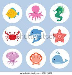 Vector set of cute cartoon sea animals by SlyBrowney, via Shutterstock