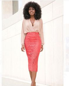 Drapey blouse and pencil skirt; coral and light pink