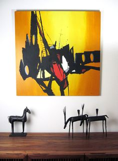 """Mid-Century Modernist Painting 36"""" x 36"""" - Abstract Expressionism Brutalist…"""