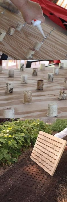 Wine corks stuck to a piece of wood makes a dibble for even seed planting.