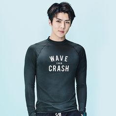 Idk where this is from tbh BUT WOW ABS AND CHEST you can literally see them through this shirt. (If I ever had a surfer bf it would be sehun)