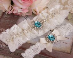 Lace Wedding Garter Set, Aqua Blue Crystal Bridal Garter Set, Tulle and Lace Garter, Lace Wedding Garter, Off White Lace Garter Our New and UNIQUE DESIGN! This gorgeous heirloom garter is made with 4 layers of softest off white tulle fabric and one layer of soft off white lace fabric.