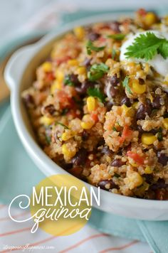 Mexican Quinoa - this was great and an easy recipe to get you started with Quinoa. Cilatro garnish is a must!