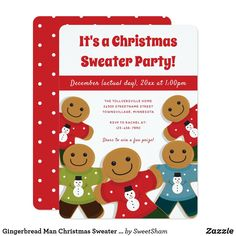 Gingerbread Man Christmas Sweater Party Red Invitation Ugly Sweater Party, Ugly Christmas Sweater, Red Christmas, Xmas Party, Holiday Parties, Holiday Fun, Holiday Party Invitations, Christmas Invitations, Xmas Holidays