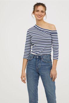One-shoulder top - Blue/White striped - Ladies | H&M GB 1