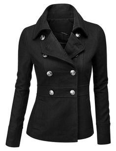 Womens Double Breasted Pea Coat Jacket (AWOCO05)
