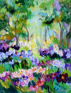 Abstract Painting  Nature 16 x 20 palette knife texture impasto fine art by Elaine Cory