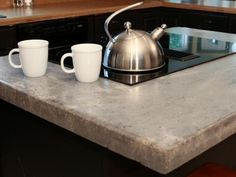 Making concrete countertops is not necessarily a hard DIY project, but it can be time-consuming. Start small by conquering an island or small cooking area. Concrete's durability makes it a perfect accompaniment to cooktop areas.