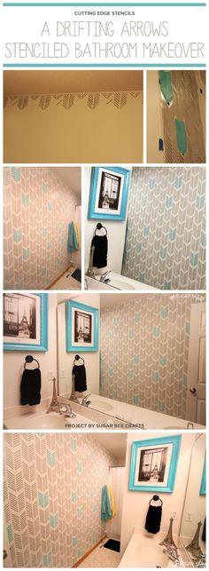 A DIY stenciled bathroom using the Drifting Arrows stencil pattern. http://www.cuttingedgestencils.com/drifting-arrows-stencil-pattern-diy-decor.html #geometric #stencils