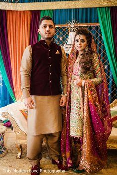 How stunning is the brides's dress by Farah Taliz Aziz! Pakistani Bridal Couture, Pakistani Wedding Outfits, Pakistani Dresses, Bridal Mehndi Dresses, Bridal Wedding Dresses, Bridal Lehenga, Formal Wedding, Lehenga Choli, Pakistan Wedding