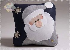 Felt pillow of Santa Claus. Felt Christmas Ornaments, Christmas Pillow, Christmas Art, Christmas Projects, Christmas Stockings, Christmas Decorations, Christmas Cushions To Make, Pillow Crafts, Felt Pillow