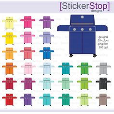 Gas Grill Icon Digital Clipart in Rainbow Colors - Instant download PNG files - Kettle Grill by StickerStop on Etsy