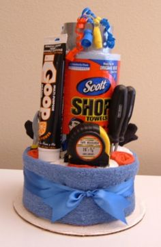 Handy Man Shop Towel Cake with Hand Cleaner and Tools - The Flourless Bakery