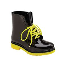 Women's Wild Diva Ramona - Black/Yellow Rubber Combat Boots ($45) ❤ liked on Polyvore featuring shoes, boots, black military boots, military boots, wellington boots, lace up boots and black wellington boots