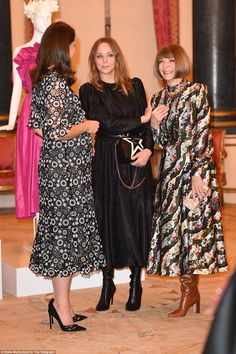 Kate, 36, shares a laugh with Vogue legend Anna Wintour (right) and designer Stella McCart...