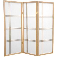 Oriental Furniture 4 ft. Tall Double Cross Shoji Screen - 3 Panel - Natural, Beige & Tan