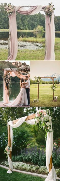 Elegant outdoor wedding decor ideas on a budget - mariage 2019 Wedding Arch Rustic, Outdoor Wedding Decorations, Wedding Ceremony Decorations, Wedding Venues, Decor Wedding, Aisle Decorations, Backdrop Wedding, Wedding Signs, Wedding Draping