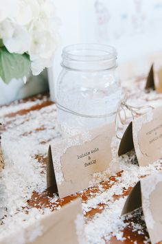 Place cards, perfect for a winter wonderland theme.