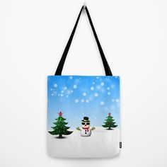 Cool Snowman and Sparkly Christmas Trees Tote Bag by #PLdesign #snowman #CoolSnowman #WinterGift