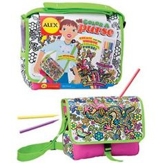$21.49 - Actually color your purse and bring it to school! • With Color a Purse you can color a beautifully ornate dragon and butterflies on a cool purse!• Purse measures 10 W x 7.5 H x 3.5 D• Includes 6 permanent markers in a pouch.