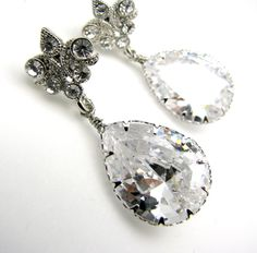 bridal wedding Clear white teardrop cubic zirconia by DesignByKara, $38.00