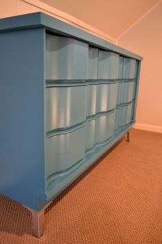 Turquoise Painted Wave Front Dresser  Midcentury by dwellbeing, $320.00