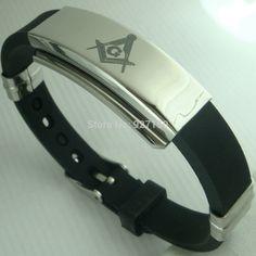 Mens Freemasonry Masonic Mason Cool PU Leather Bangle bracelet G96B