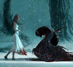 主题:美女与怪物  关系:保护 事件:勇士营救少女,特殊的剑攻击怪物,怪物带着少女逃走,怪物保护少女,鲜血染红了少女的睡衣,少女产生了莫名的感情,少女试图安抚怪物 少女:纯洁与博爱  好奇包容  怪物:过去与感情  被收养,母爱,愤怒,攻击,可怜,舔舐伤口