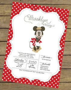Vintage Minnie Invitation  Minnie Mouse by CharlesAlexDesign