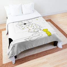 'Sleepy Mouse' Comforter by Melikar Time to snuggle into original bedspreads for boys or girls. Five sizes available: twin, twin XL, fu Girl Dorms, College Dorm Rooms, Typography Inspiration, Square Quilt, Twin Xl, Bed Covers, Bed Spreads, Floor Pillows, Comforters