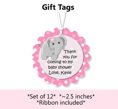 Pink Elephant Baby Shower or Birthday Favor Tags