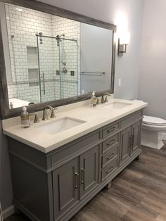 Top 10 Double Bathroom Vanity Design Ideas in 2019 - Double Bathroom Vanity Designs Ideas – A double trough sink bathroom vanity has basins recessed d - Trough Sink Bathroom, Double Sink Bathroom, Bathroom Small, Dyi Bathroom, Grey Bathroom Paint, Lavender Bathroom, Gray Paint, Bathroom Layout, Bathroom Cleaning