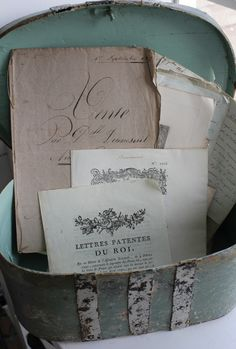 """collected group of French antique papers in a robin's egg blue 19th century Swedish box…Ebay and auction purchases…the """"Vente"""" paper from French Country Home's burgeoning boutique"""