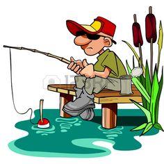 Pêcheur De Bande Dessinée Avec Une Canne à Pêche Assis Sur L  39 estrade  Banque D Images  Vecteurs et Illustrations Libres de Droits