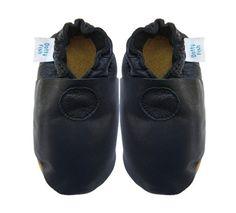 Acogedoras y suaves zapatos de cuero para bebé niña, niño con suela de gamuza Dotty Fish Diseño Solido – 6-12 Meses – Azul Marino