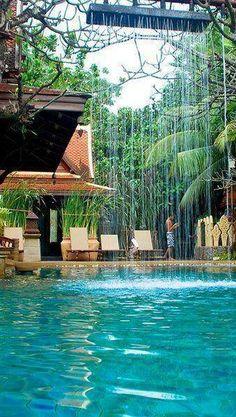 Luxury swimming pool of hotel