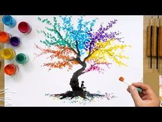 Colorful Abstract Tree Q Tip Painting Technique Q Tip Painting, Abstract Tree Painting, Painting Techniques, China Painting, Body Painting, Abstract Art, Watercolor Artists, Watercolor Paintings, Tree Paintings