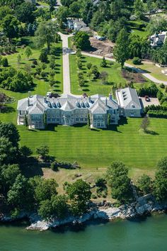 American Country House in Greenwich, CT by Wadia Associates Greenwich, Connecticut, United States With nearly 4 acres of property overlooking the Long Island Sound, this impressive waterfront estate is one Stone Mansion, Dream Mansion, Luxury House Plans, Luxury Homes Dream Houses, Dream Homes, Villas, Greenwich House, Florida Mansion, Homes England