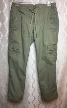 L.L. Bean Womens Favorite Fit Green Cargo Drawstring Pants Roll Up Tabs Size 8 #LLBean #KhakisChinos