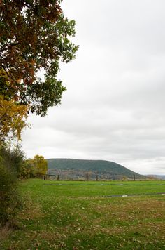 Golden autumn accents Mount NIttany Ridge as seen from one tailgating area near Beaver Stadium.