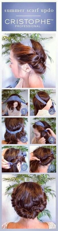You only need a head scarf, a few pins and about 15 free minutes. 1. Carefully tie the scarf over the hair 2. Secure it with bobby pins at the back 3. Take a strand of hair, loop over and tuck under the scarf. 4. Repeat this step until all of the hair is up 5. Make sure all the hair is securely tucked 6. Use bobby pins to secure even more and you are done! So this is it – simple and easy. Enjoy it!