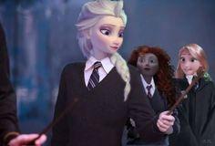 Elsa casting a spell in Hogwarts.