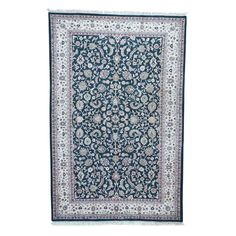 "1800GetaRug Sino Kashan Green Wool Hand-knotted Area Rug (6' x 9'3) (Exact Size: 6'0"" x 9'3"")"