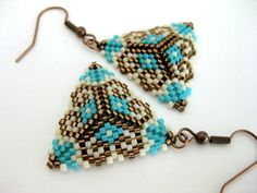 Peyote Earrings / Peyote Triangle Earrings / by MadeByKatarina