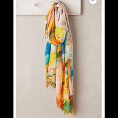 """{Anthropologie} Midsummer scarf The look of a watercolor painting this {Anthropologie} Midsummer scarf is absolutely gorgeous. Blend of modal and viscose. Approx 76"""" long, 55"""" wide. NWT, never worn. Anthropologie Accessories Scarves & Wraps"""