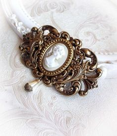 Baroque blossom  ivory cameo hair clip  gothic  by MidnightVision