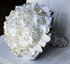 Vintage Bridal Brooch Bouquet - Pearl Rhinestone Crystal - Silver White Grey or U PICK COLOR - 40% off - BB012LX