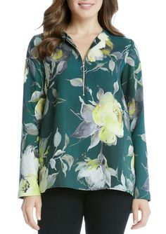 e0a9d85f2fb4d5 Karen Kane Women s Floral New Leaf Print Zip Up Long Sleeve Blouse Green  Size S